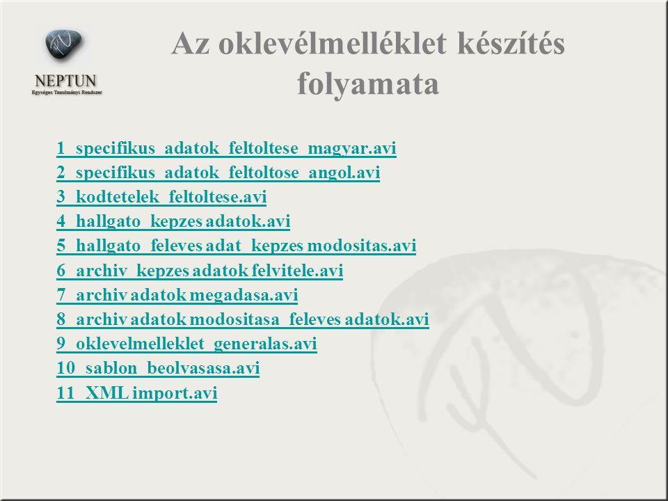 Az oklevélmelléklet készítés folyamata 1_specifikus_adatok_feltoltese_magyar.avi 2_specifikus_adatok_feltoltose_angol.avi 3_kodtetelek_feltoltese.avi