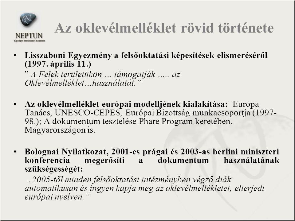 """Lisszaboni Egyezmény a felsőoktatási képesítések elismeréséről (1997. április 11.) """" A Felek területükön … támogatják ….. az Oklevélmelléklet…használa"""