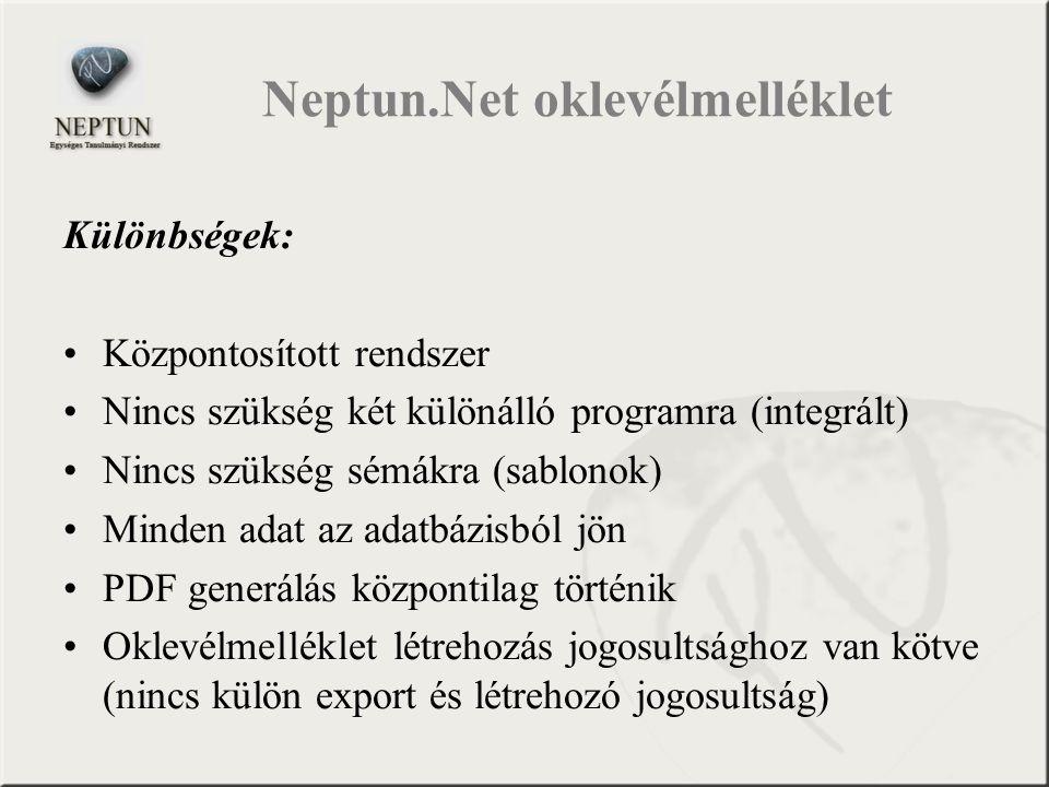 Neptun.Net oklevélmelléklet Különbségek: Központosított rendszer Nincs szükség két különálló programra (integrált) Nincs szükség sémákra (sablonok) Mi
