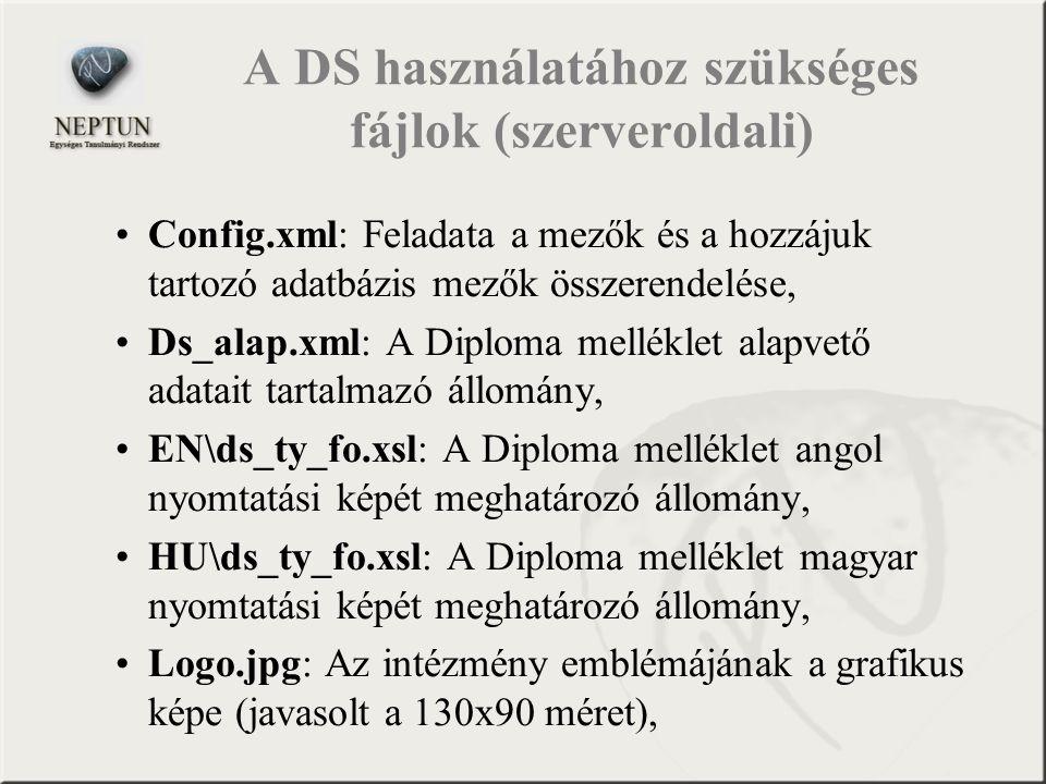A DS használatához szükséges fájlok (szerveroldali) Config.xml: Feladata a mezők és a hozzájuk tartozó adatbázis mezők összerendelése, Ds_alap.xml: A