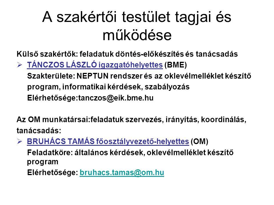 A szakértői testület tagjai és működése Az OM munkatársai:feladatuk szervezés, irányítás, koordinálás, tanácsadás:  JUHÁSZ JÚLIA vezető tanácsos (OM) Feladatköre:: oklevélmelléklet tartalma, magyar felsőoktatás rendszere, ekvivalencia, nemzetközi tapasztalatok Elérhetősége: julia.juhasz@om.hujulia.juhasz@om  KISSNÉ PAP MARGIT vezető főtanácsos (OM) Feladatköre: általános koordináció Elérhetősége:margit.kissnepap@om.hu