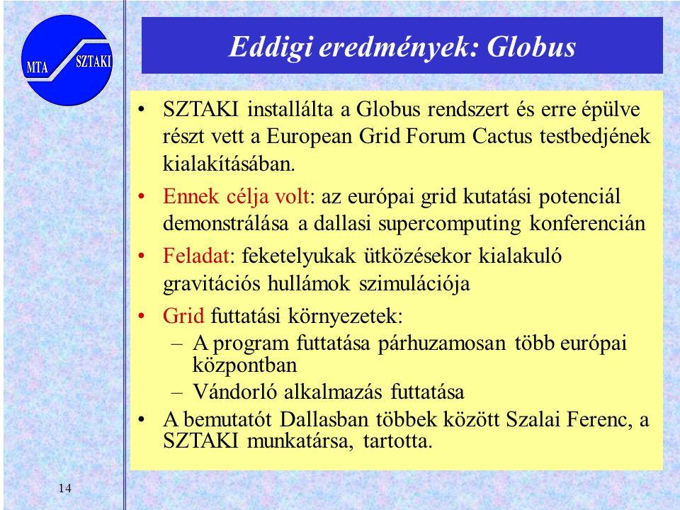 14 SZTAKI installálta a Globus rendszert és erre épülve részt vett a European Grid Forum Cactus testbedjének kialakításában.