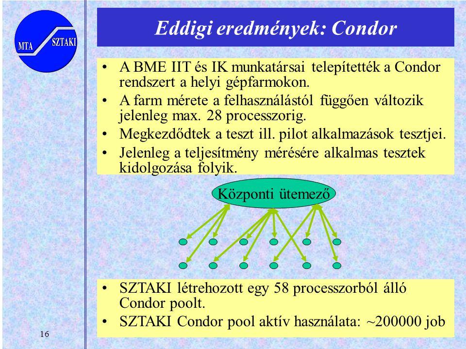 16 A BME IIT és IK munkatársai telepítették a Condor rendszert a helyi gépfarmokon.