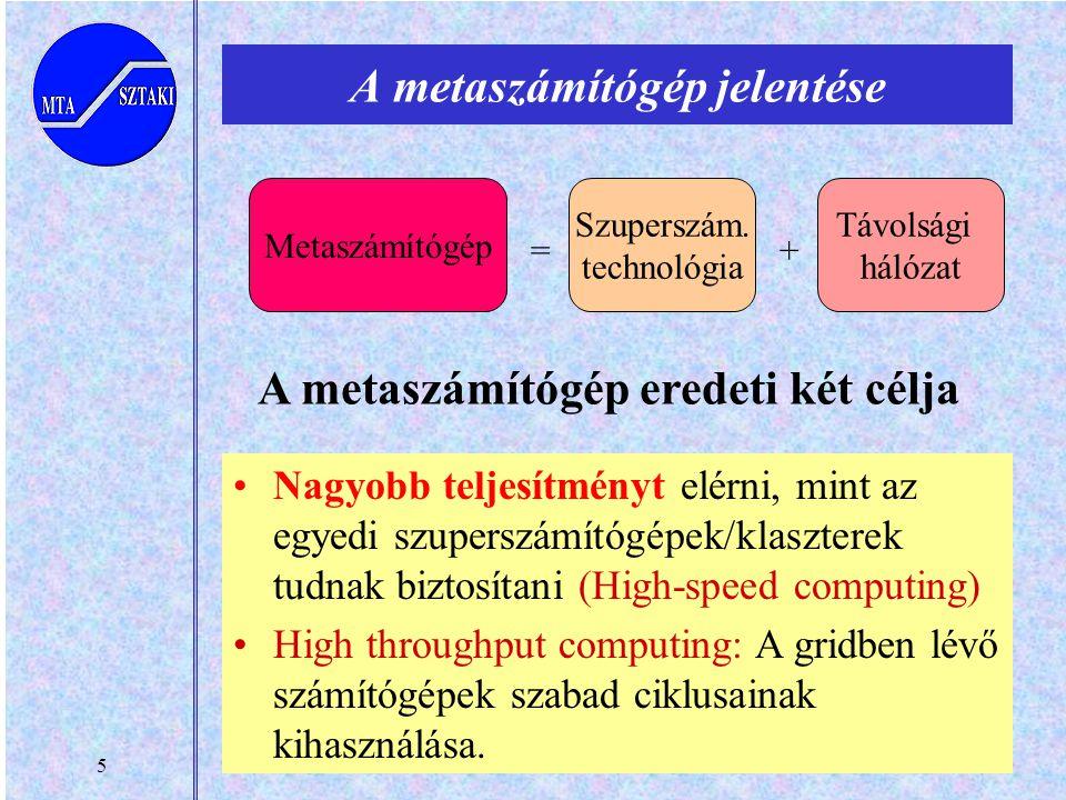 5 A metaszámítógép jelentése Távolsági hálózat A metaszámítógép eredeti két célja Nagyobb teljesítményt elérni, mint az egyedi szuperszámítógépek/klaszterek tudnak biztosítani (High-speed computing) High throughput computing: A gridben lévő számítógépek szabad ciklusainak kihasználása.