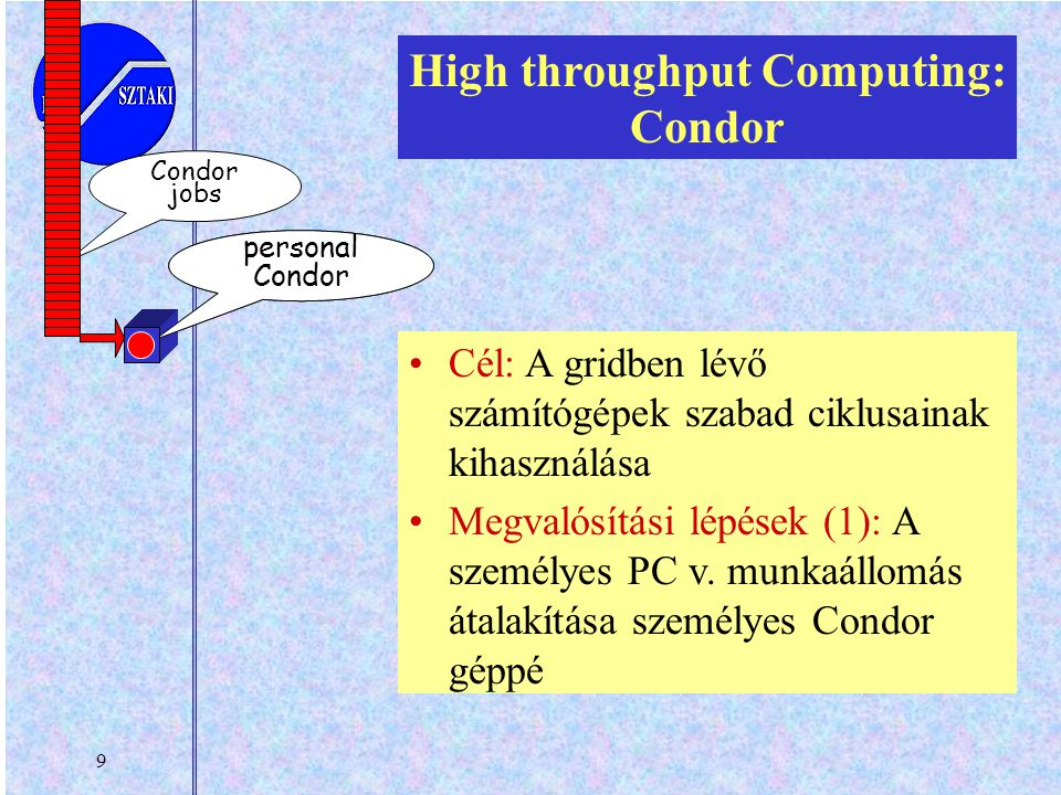 9 your workstation personal Condor jobs High throughput Computing: Condor Cél: A gridben lévő számítógépek szabad ciklusainak kihasználása Megvalósítási lépések (1): A személyes PC v.
