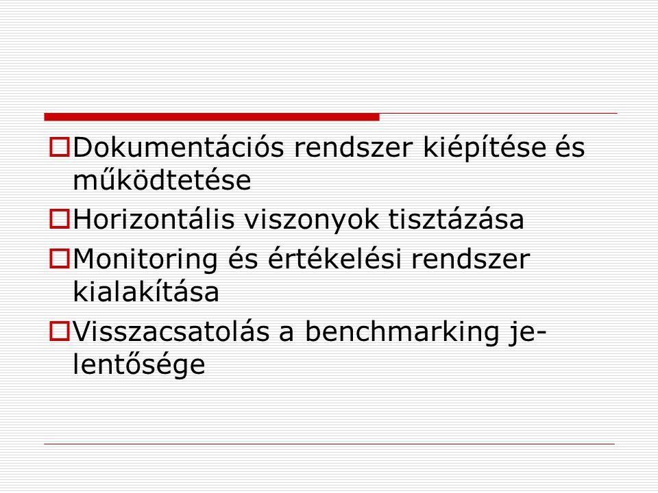  Dokumentációs rendszer kiépítése és működtetése  Horizontális viszonyok tisztázása  Monitoring és értékelési rendszer kialakítása  Visszacsatolás