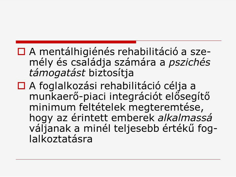  A mentálhigiénés rehabilitáció a sze- mély és családja számára a pszichés támogatást biztosítja  A foglalkozási rehabilitáció célja a munkaerő-piac
