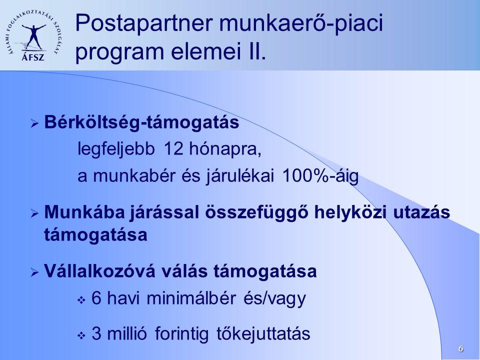 6  Bérköltség-támogatás legfeljebb 12 hónapra, a munkabér és járulékai 100%-áig  Munkába járással összefüggő helyközi utazás támogatása  Vállalkozóvá válás támogatása  6 havi minimálbér és/vagy  3 millió forintig tőkejuttatás Postapartner munkaerő-piaci program elemei II.