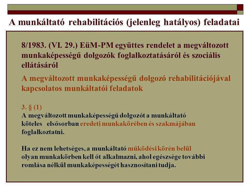 A munkáltató rehabilitációs (jelenleg hatályos) feladatai 8/1983. (VI. 29.) EüM-PM együttes rendelet a megváltozott munkaképességű dolgozók foglalkozt