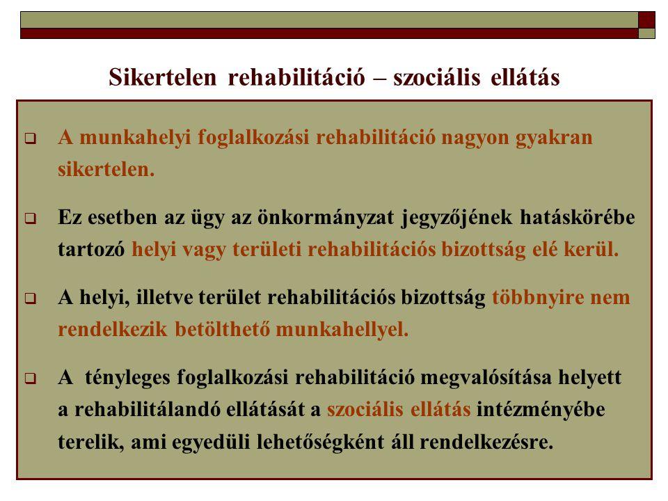 Sikertelen rehabilitáció – szociális ellátás  A munkahelyi foglalkozási rehabilitáció nagyon gyakran sikertelen.  Ez esetben az ügy az önkormányzat