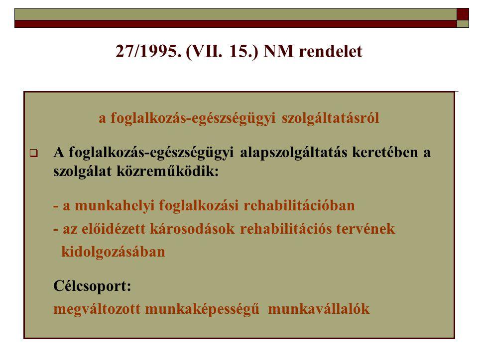 27/1995. (VII. 15.) NM rendelet a foglalkozás-egészségügyi szolgáltatásról  A foglalkozás-egészségügyi alapszolgáltatás keretében a szolgálat közremű