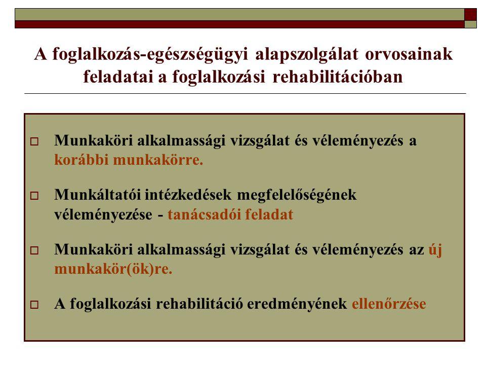 A foglalkozás ‑ egészségügyi alapszolgálat orvosainak feladatai a foglalkozási rehabilitációban  Munkaköri alkalmassági vizsgálat és véleményezés a k