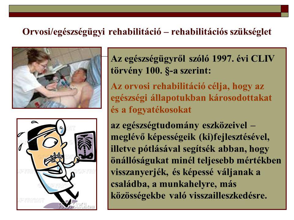 Orvosi/egészségügyi rehabilitáció – rehabilitációs szükséglet Az egészségügyről szóló 1997. évi CLIV törvény 100. §-a szerint: Az orvosi rehabilitáció