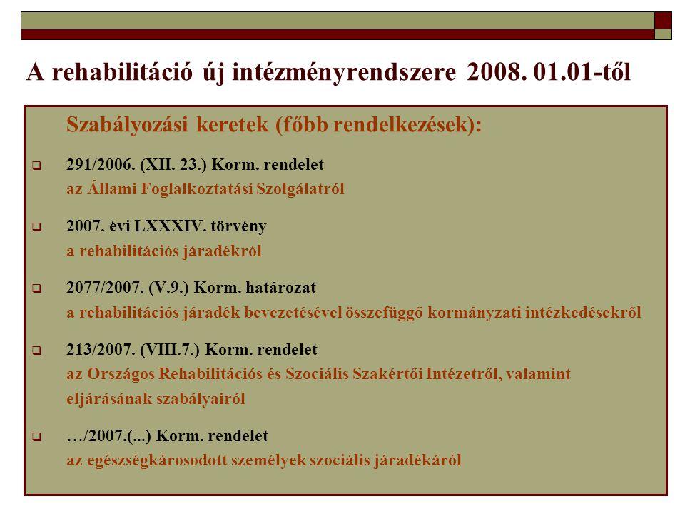 A rehabilitáció új intézményrendszere 2008. 01.01-től Szabályozási keretek (főbb rendelkezések):  291/2006. (XII. 23.) Korm. rendelet az Állami Fogla