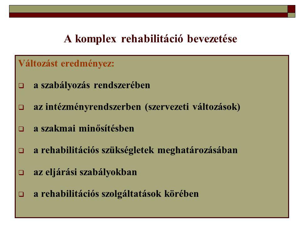 A komplex rehabilitáció bevezetése Változást eredményez:  a szabályozás rendszerében  az intézményrendszerben (szervezeti változások)  a szakmai mi