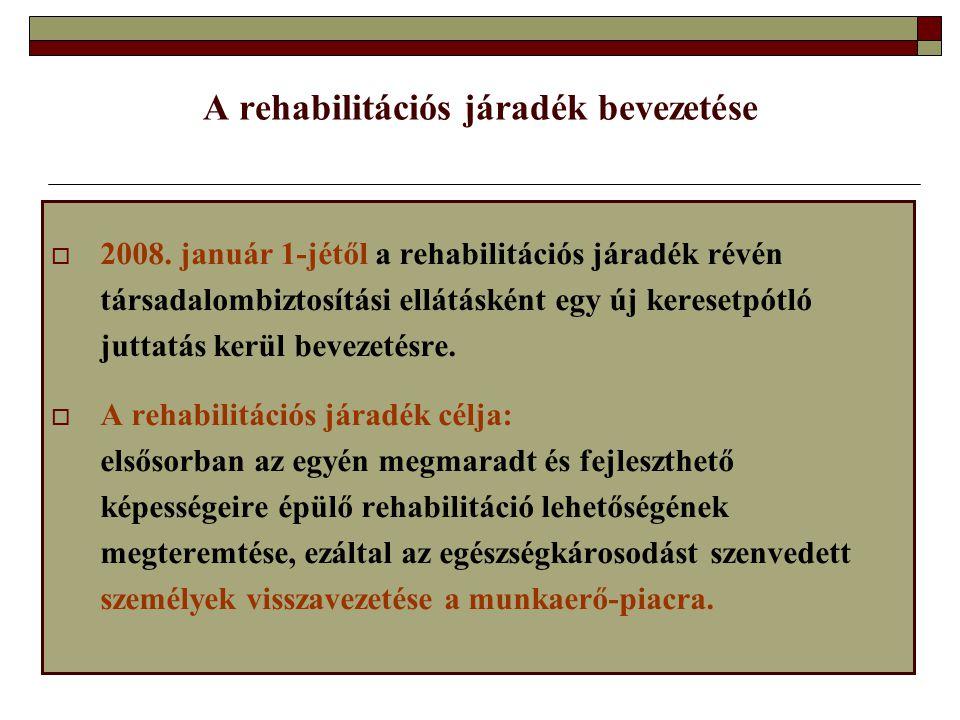 A rehabilitációs járadék bevezetése  2008. január 1-jétől a rehabilitációs járadék révén társadalombiztosítási ellátásként egy új keresetpótló juttat