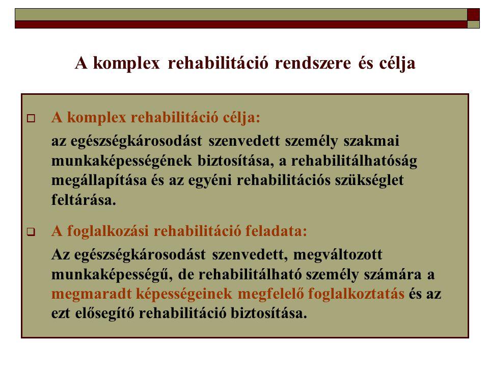 A komplex rehabilitáció rendszere és célja  A komplex rehabilitáció célja: az egészségkárosodást szenvedett személy szakmai munkaképességének biztosí
