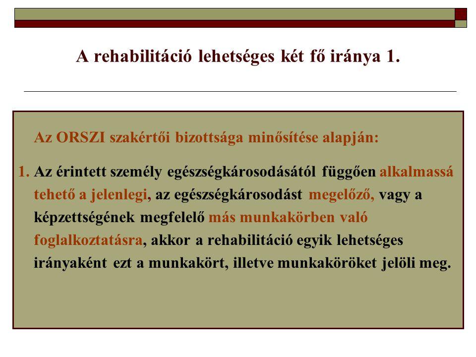 A rehabilitáció lehetséges két fő iránya 1. Az ORSZI szakértői bizottsága minősítése alapján: 1. Az érintett személy egészségkárosodásától függően alk