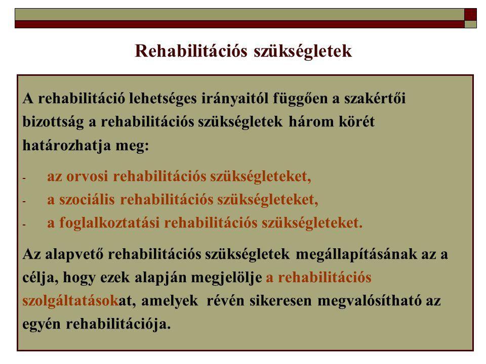 Rehabilitációs szükségletek A rehabilitáció lehetséges irányaitól függően a szakértői bizottság a rehabilitációs szükségletek három körét határozhatja