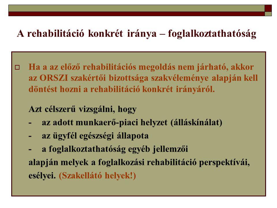  Ha a az előző rehabilitációs megoldás nem járható, akkor az ORSZI szakértői bizottsága szakvéleménye alapján kell döntést hozni a rehabilitáció konk