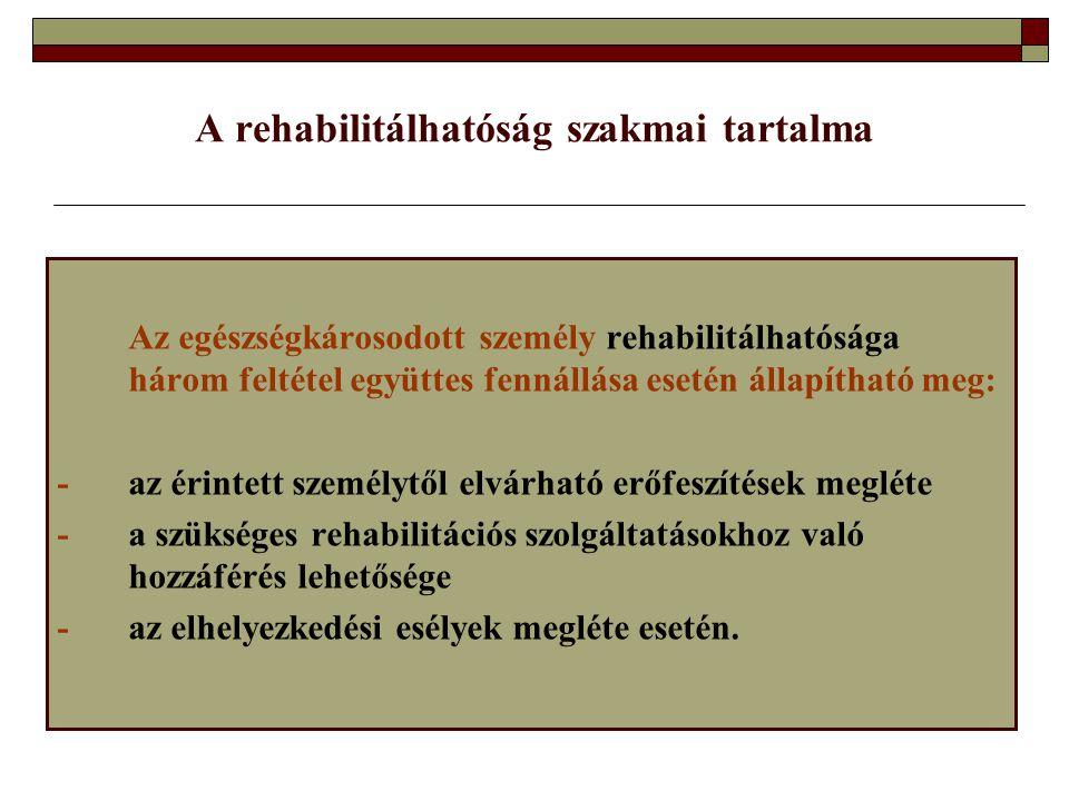 A rehabilitálhatóság szakmai tartalma Az egészségkárosodott személy rehabilitálhatósága három feltétel együttes fennállása esetén állapítható meg: -az