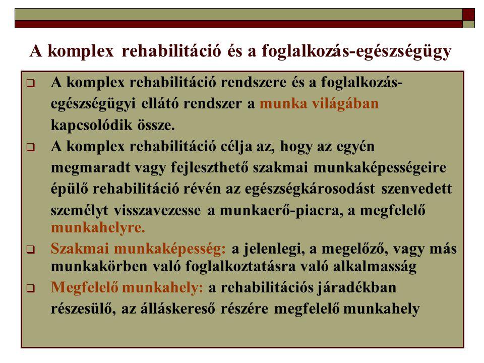 A komplex rehabilitáció és a foglalkozás-egészségügy  A komplex rehabilitáció rendszere és a foglalkozás- egészségügyi ellátó rendszer a munka világá