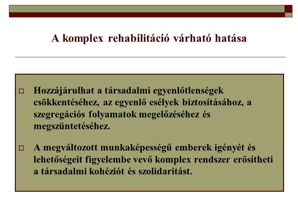 A komplex rehabilitáció várható hatása  Hozzájárulhat a társadalmi egyenlőtlenségek csökkentéséhez, az egyenlő esélyek biztosításához, a szegregációs