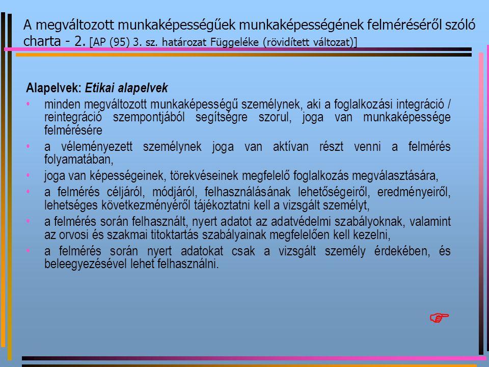 Alapelvek: Etikai alapelvek minden megváltozott munkaképességű személynek, aki a foglalkozási integráció / reintegráció szempontjából segítségre szoru