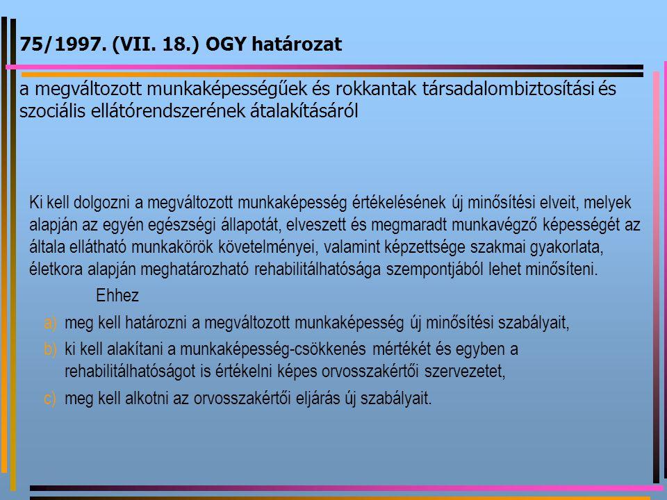 75/1997. (VII. 18.) OGY határozat a megváltozott munkaképességűek és rokkantak társadalombiztosítási és szociális ellátórendszerének átalakításáról Ki