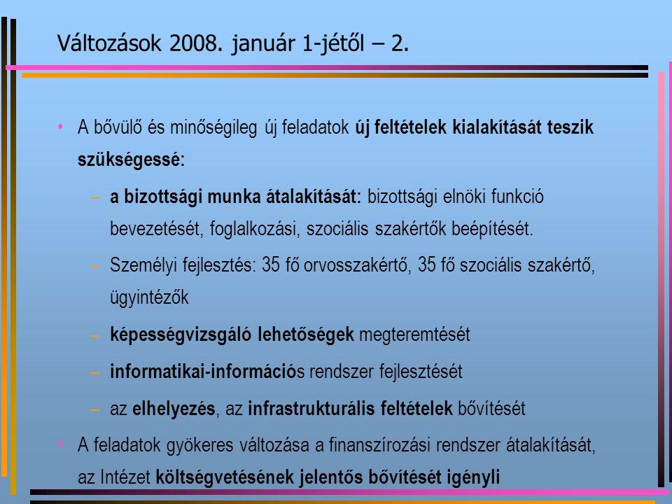 Változások 2008. január 1-jétől – 2. A bővülő és minőségileg új feladatok új feltételek kialakítását teszik szükségessé: – a bizottsági munka átalakít