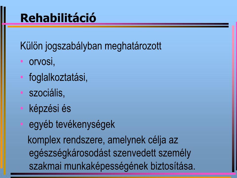 Rehabilitáció Külön jogszabályban meghatározott orvosi, foglalkoztatási, szociális, képzési és egyéb tevékenységek komplex rendszere, amelynek célja a