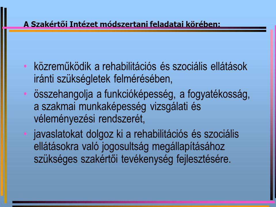 A Szakértői Intézet módszertani feladatai körében: közreműködik a rehabilitációs és szociális ellátások iránti szükségletek felmérésében, összehangolj
