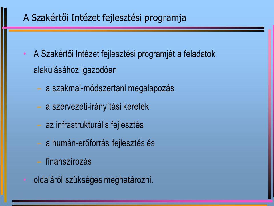 A Szakértői Intézet fejlesztési programja A Szakértői Intézet fejlesztési programját a feladatok alakulásához igazodóan –a–a szakmai-módszertani megal