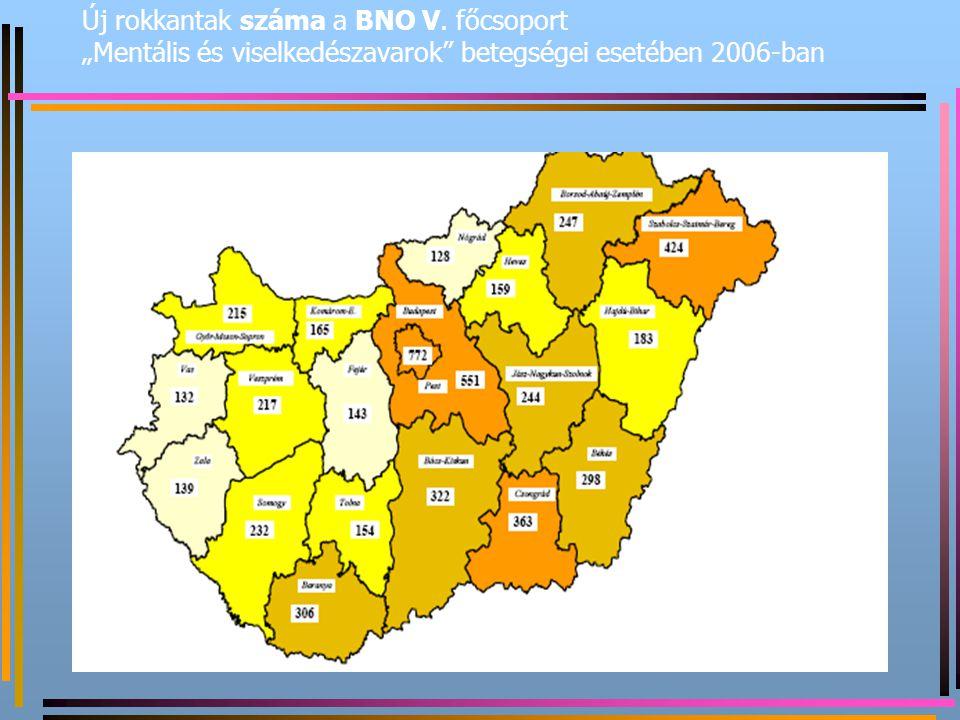 """Új rokkantak száma a BNO V. főcsoport """"Mentális és viselkedészavarok"""" betegségei esetében 2006-ban"""