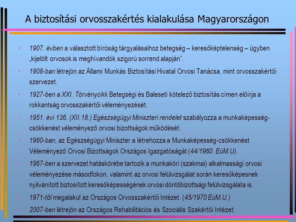 """A biztosítási orvosszakértés kialakulása Magyarországon 1907. évben a választott bíróság tárgyalásaihoz betegség – keresőképtelenség – ügyben """"kijelöl"""
