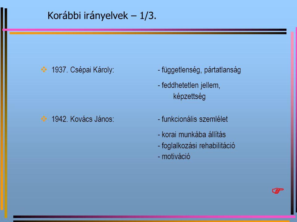 Korábbi irányelvek – 1/3.  1937. Csépai Károly:- függetlenség, pártatlanság - feddhetetlen jellem, képzettség  1942. Kovács János:- funkcionális sze