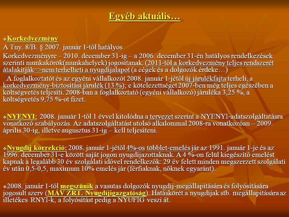 Egyéb aktuális…  Korkedvezmény A Tny. 8/B. § 2007. január 1-től hatályos Korkedvezményre – 2010. december 31-ig – a 2006. december 31-én hatályos ren