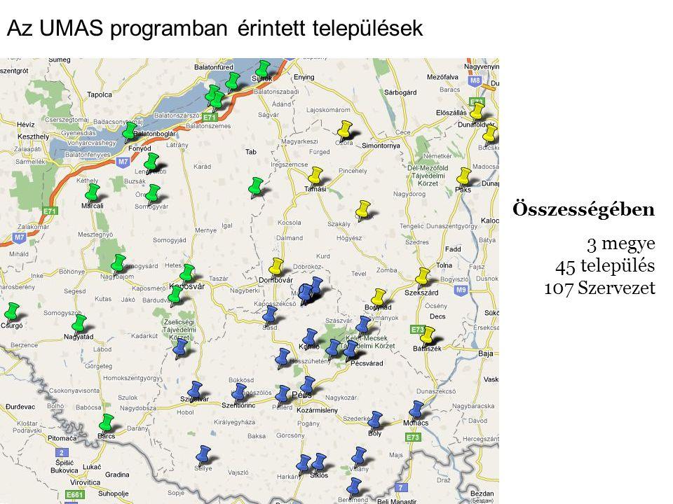 Az UMAS programban érintett települések Összességében 3 megye 45 település 107 Szervezet