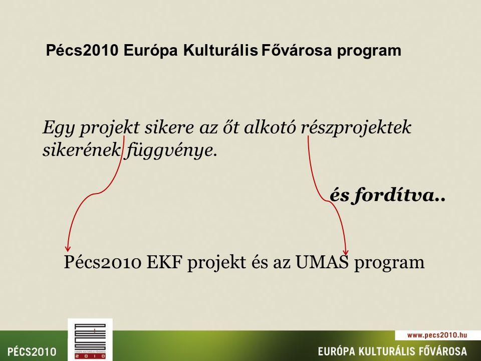 Pécs2010 Európa Kulturális Fővárosa program Egy projekt sikere az őt alkotó részprojektek sikerének függvénye.