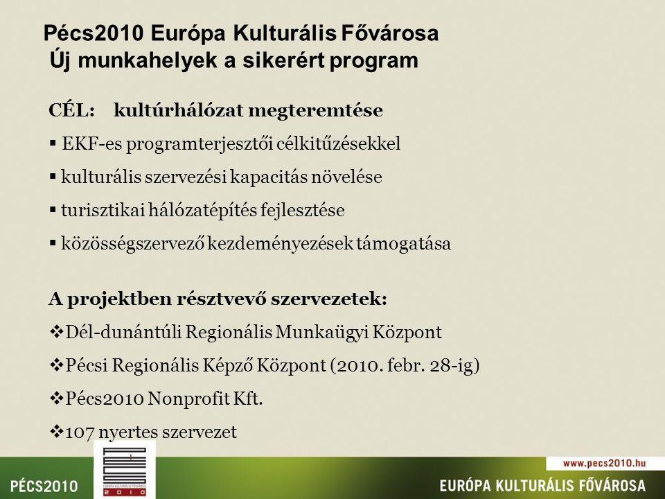 CÉL: kultúrhálózat megteremtése  EKF-es programterjesztői célkitűzésekkel  kulturális szervezési kapacitás növelése  turisztikai hálózatépítés fejlesztése  közösségszervező kezdeményezések támogatása A projektben résztvevő szervezetek:  Dél-dunántúli Regionális Munkaügyi Központ  Pécsi Regionális Képző Központ (2010.