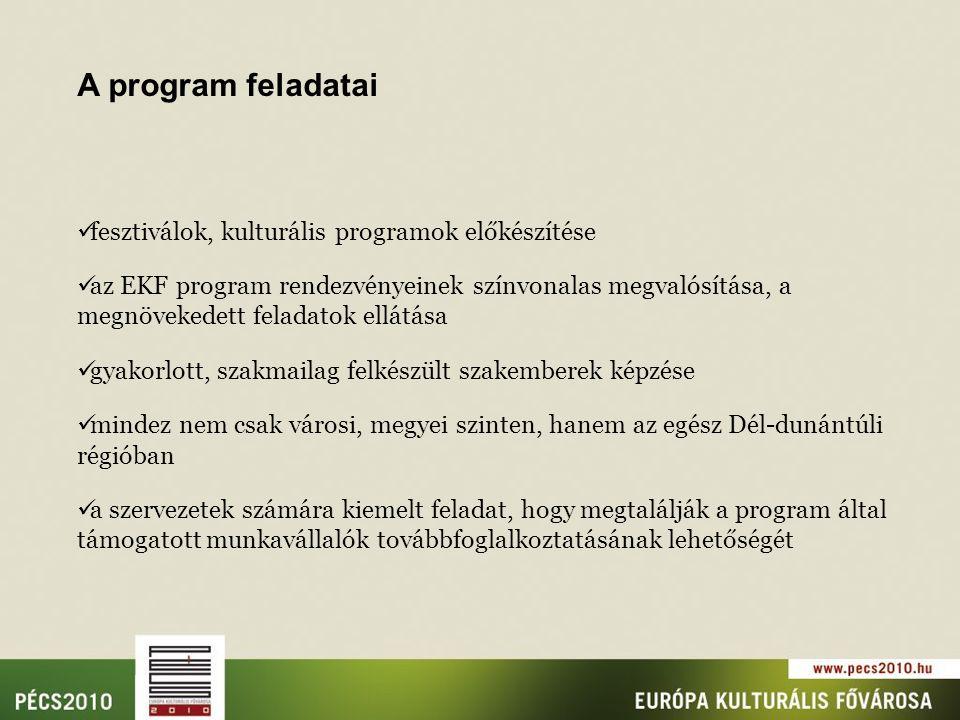 fesztiválok, kulturális programok előkészítése az EKF program rendezvényeinek színvonalas megvalósítása, a megnövekedett feladatok ellátása gyakorlott, szakmailag felkészült szakemberek képzése mindez nem csak városi, megyei szinten, hanem az egész Dél-dunántúli régióban a szervezetek számára kiemelt feladat, hogy megtalálják a program által támogatott munkavállalók továbbfoglalkoztatásának lehetőségét A program feladatai