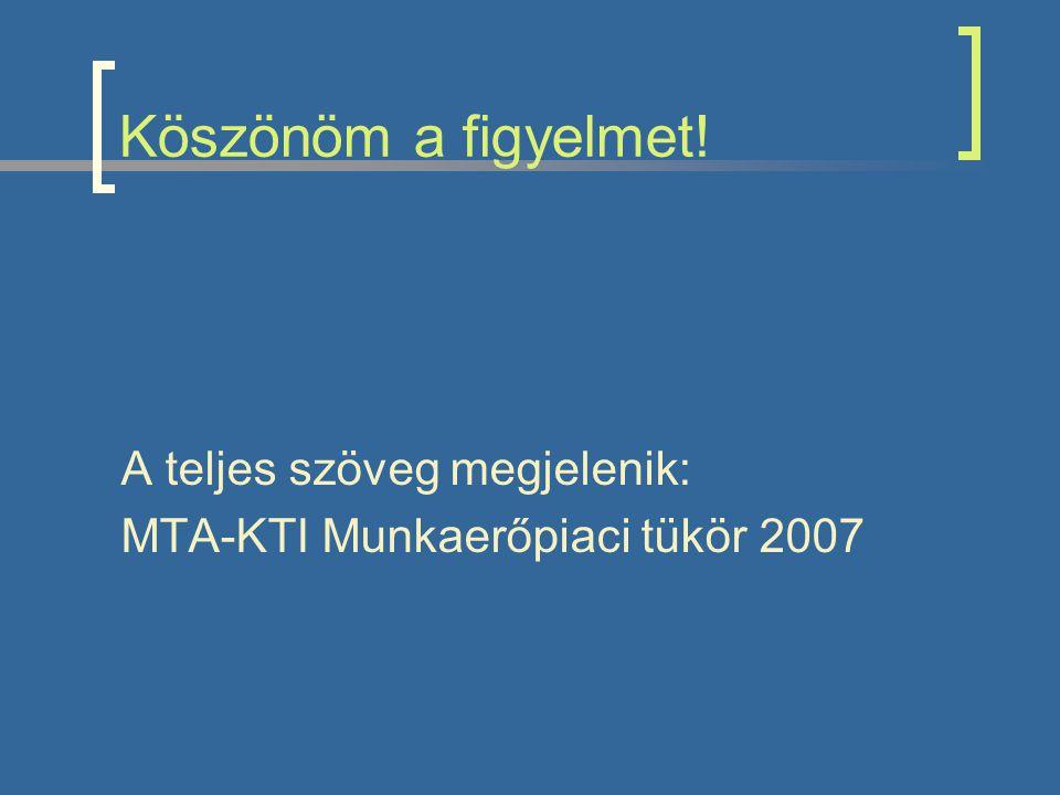 Köszönöm a figyelmet! A teljes szöveg megjelenik: MTA-KTI Munkaerőpiaci tükör 2007