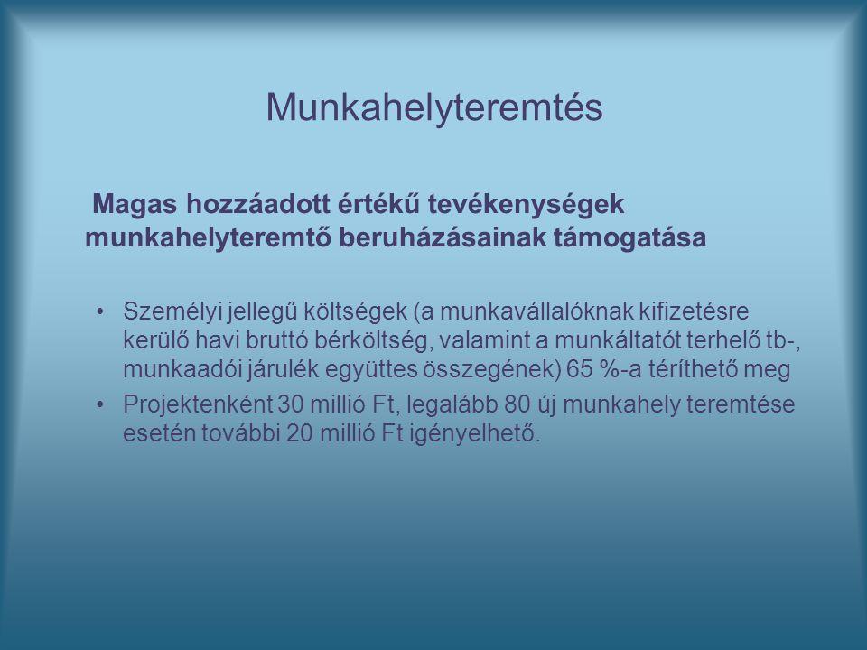 Munkahelyteremtés Magas hozzáadott értékű tevékenységek munkahelyteremtő beruházásainak támogatása Személyi jellegű költségek (a munkavállalóknak kifi