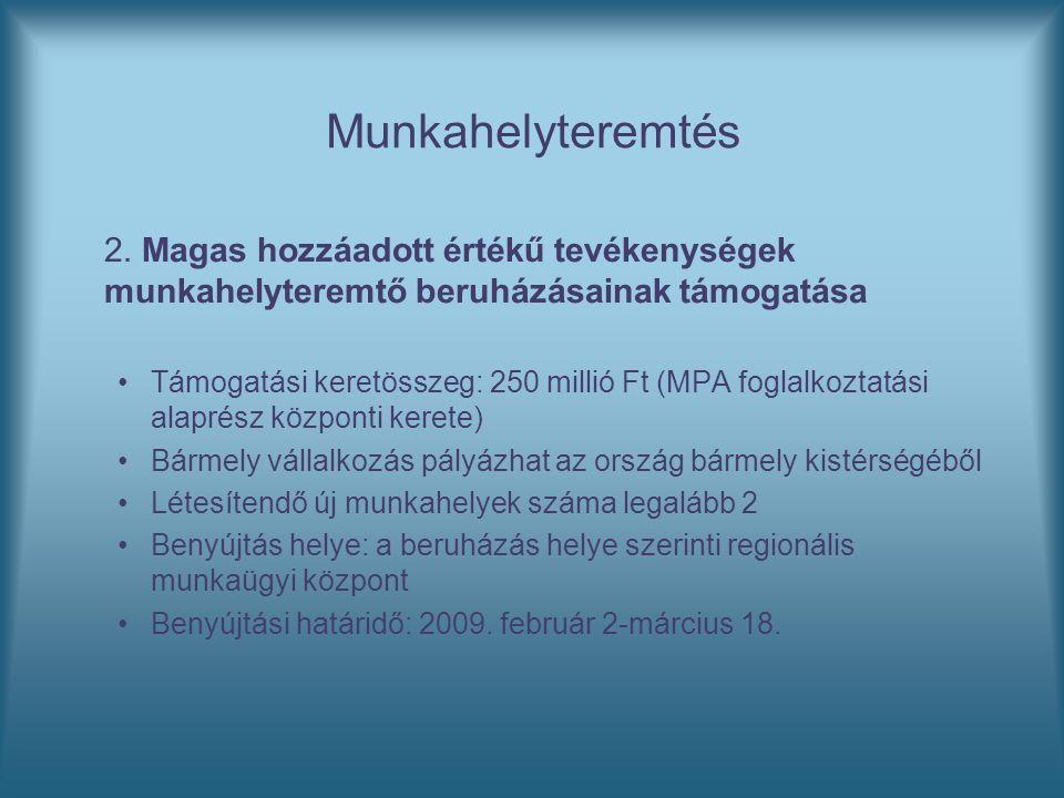 Munkahelyteremtés 2. Magas hozzáadott értékű tevékenységek munkahelyteremtő beruházásainak támogatása Támogatási keretösszeg: 250 millió Ft (MPA fogla