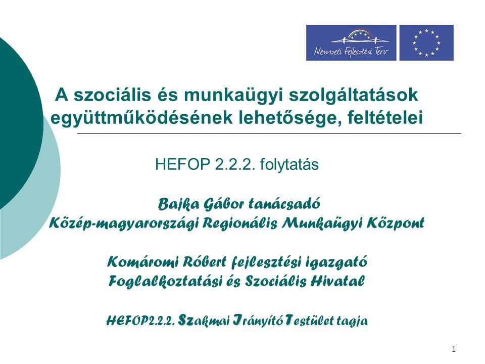 1 SzIT A szociális és munkaügyi szolgáltatások együttműködésének lehetősége, feltételei HEFOP 2.2.2. folytatás Bajka Gábor tanácsadó Közép-magyarorszá