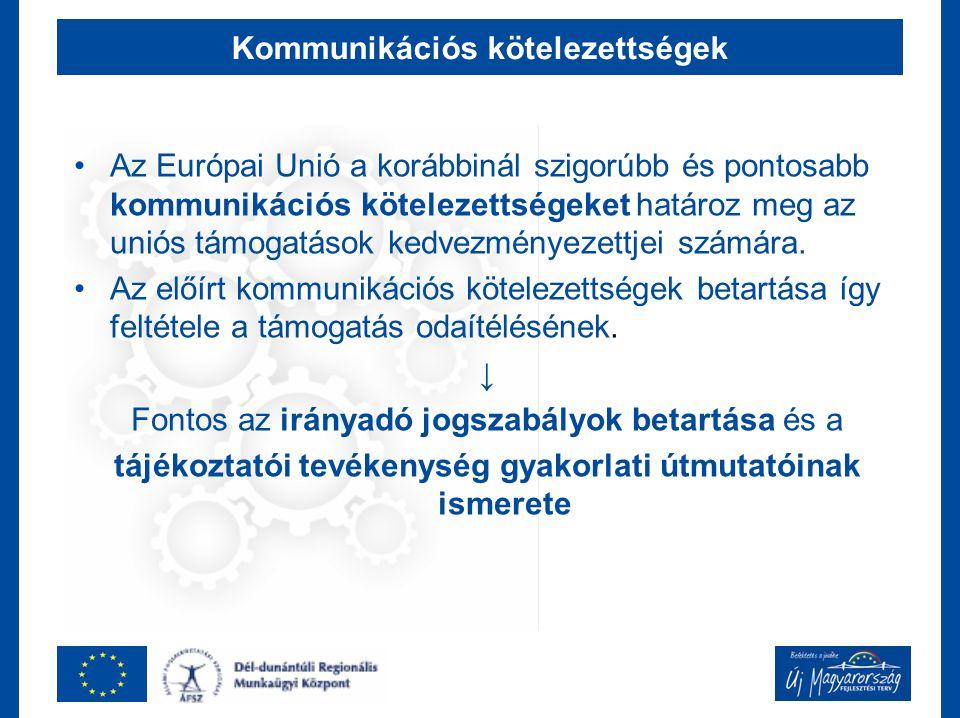 Kommunikációs kötelezettségek Az Európai Unió a korábbinál szigorúbb és pontosabb kommunikációs kötelezettségeket határoz meg az uniós támogatások kedvezményezettjei számára.