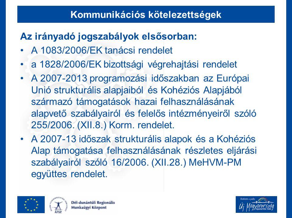 Kommunikációs kötelezettségek Az irányadó jogszabályok elsősorban: A 1083/2006/EK tanácsi rendelet a 1828/2006/EK bizottsági végrehajtási rendelet A 2007-2013 programozási időszakban az Európai Unió strukturális alapjaiból és Kohéziós Alapjából származó támogatások hazai felhasználásának alapvető szabályairól és felelős intézményeiről szóló 255/2006.