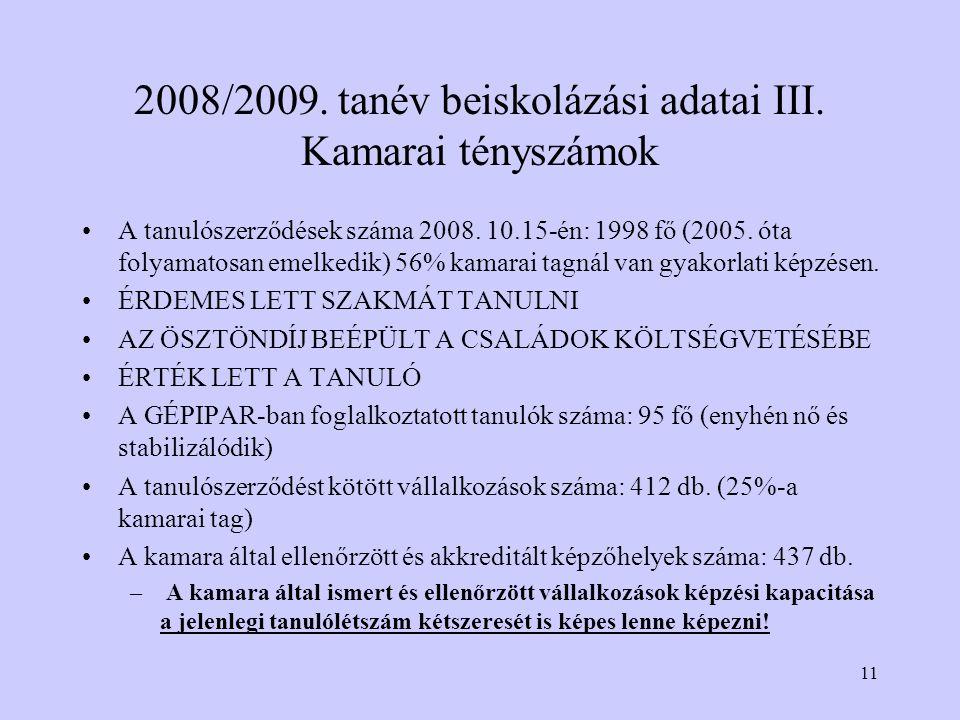 11 2008/2009. tanév beiskolázási adatai III. Kamarai tényszámok A tanulószerződések száma 2008.