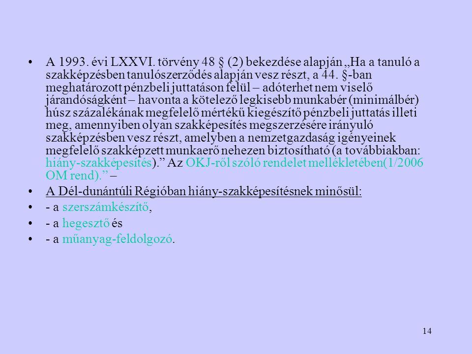 14 A 1993. évi LXXVI.