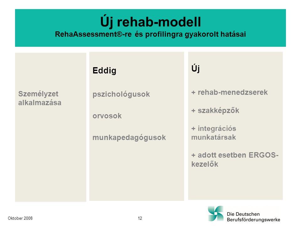 Személyzet alkalmazása Eddig pszichológusok orvosok munkapedagógusok Új + rehab-menedzserek + szakképzők + integrációs munkatársak + adott esetben ERG